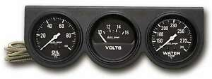 Gauge Panel Assembly Auto Gage Oil Pressure Voltmeter Water Temp Black Face Kit
