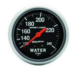 Water Temp Gauge Sport comp 120 240 F Mechanical 2 5 8 Diameter Black Face
