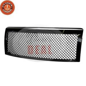 For 2009 2014 Ford F150 Truck Glossy Black Abs Mesh Front Bumper Hood Grille
