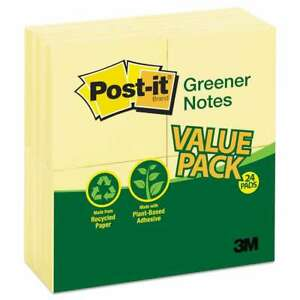 Post it Greener Notes Recycled Note Pads 3 X 3 Canary Yellow 051141335285
