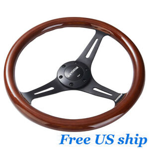 Universal 14 Classic Wooden Steering Wheel 350mm Wood Grain Trim Chrome Spoke