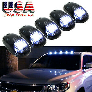 5x White Smoked Lens Led Roof Lamp Rooftop Driving Light For Chevy Silverado1500