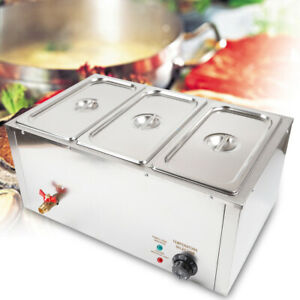 3 pan Food Warmer Steam Table Steamer 3 Pot Pan Hot Well Electric 850w 110v Usa