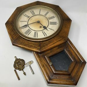 Antique Vintage Waterbury Schoolhouse Style Wall Clock Non Working
