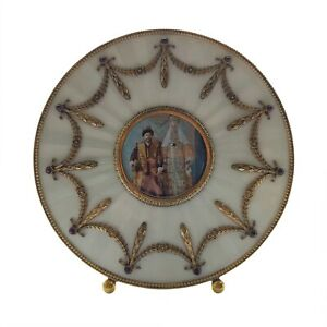 Russian Silver Gilt Guilloche Enamel Picture Frame With Garnets