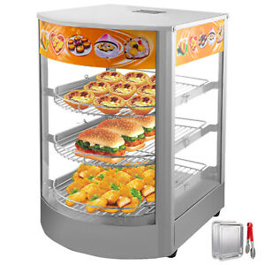 Commercial Food Warmer Court Heat Food Pizza Display Warmer Cabinet 14 glass Sus
