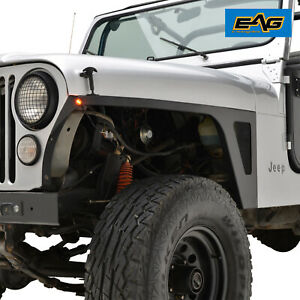 Eag Steel Armor Front Fender With Led Eagle Lights Fit 76 86 Jeep Wrangler Cj