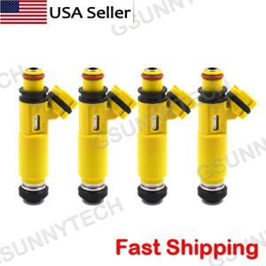 4 Pcs New Yellow Fuel Injectors Oem Denso For 2004 2008 Mazda Rx 8 195500 4450