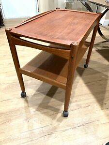Mid Century Danish Modern Teak Bar Cart With Removable Top Tray