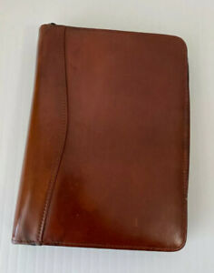 Scully Brown Leather Zip Around Portfolio Executive 3 Ring Binder Maps Dividers