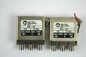 Dow key Microwave 403 130 Spdt Hf Rf Sma Coaxial Switch 12v 18ghz lot Of 2