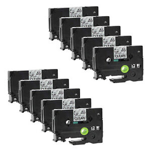 Black On Clear Tape For Brother Tz Tze 121 P touch Pt p750w 9mm Label Maker 10pk