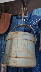 Wonderful Early Antique Old Blue Farm Bucket