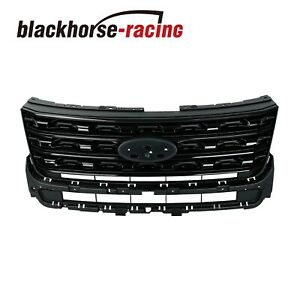 For 2016 2017 Ford Explorer Grill Sport Upper Factory Style Grille Gloss Black
