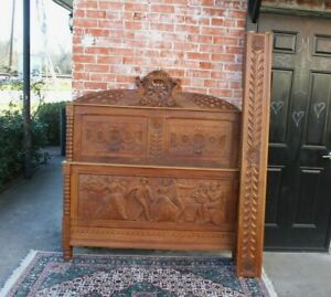 French Antique Oak Brittany Full Size Bed Circa 1880