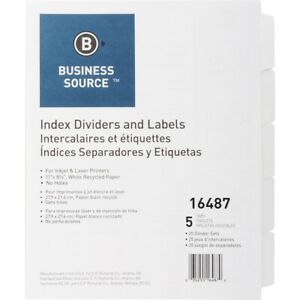 Business Source Un punched Index Dividers Set 5 X Divider s Blank Tab s