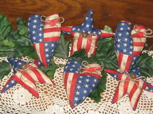Patriotic Country Decor Flag Hearts Stars Bowl Fillers Wreath Making