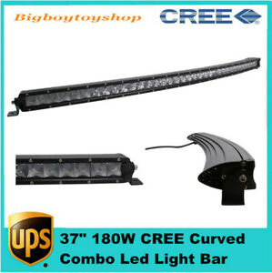 37 inch Curved Led Light Bar 180w Offroad Slim Single Row Combo Beam Rzr 38 40
