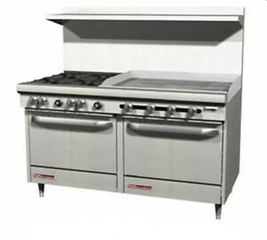 Southbend S60dd 2gr 60 S series Range W 6 Gas Burners 24 Griddle On Right