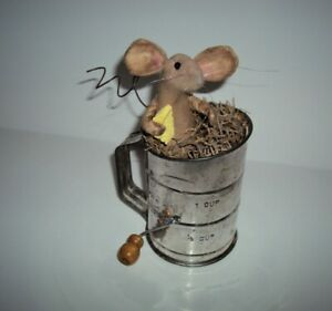 Primitive Folk Art Country Farmhouse Handmade Mouse Doll Mice Antique Sifter