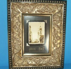 Picture Photo Frame Rectangle Antique Gold Black Ornate Victorian 5 X 7 X 1 1 2