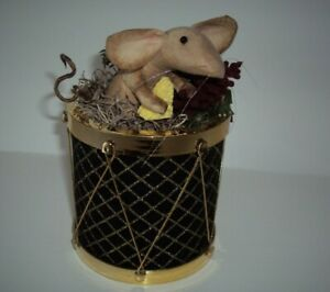 Primitive Country Farmhouse Handmade Mouse Doll Mice Toy Drum Planter Decor