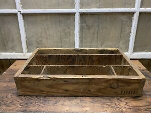Vintage Wood Crate Box With Dividers Old Farm House Decor Centerpiece Wooden