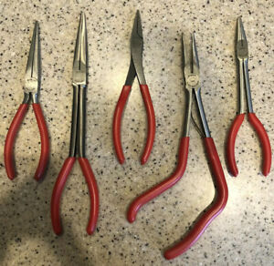 5 Piece Snap On Plier Set Red Excellent Condition