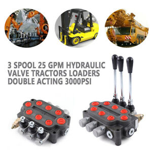3 Spool 25 Gpm Hydraulic Valve Tractors Loaders Double Acting 3000psi 90l min Us
