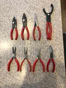 8 Pc Snap On Blue Point Pliers Mixed Lot Vgc
