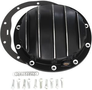 Black Chevy 10 Bolt 8 5 Finned Aluminum Rear End Differential Cover W Plug