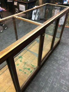 Good Condition Large Vintage Wood Glass Retail Display Case Cabinet