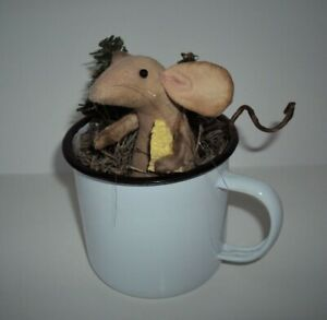 Primitive Country Farmhouse Handmade Mouse Doll Kitchen Pantry Mice White Cup