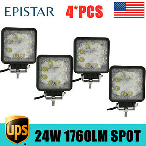 4x 24w Square Led Spot Cube Work Light Pods Truck Fogs Offroad Boat Dirving Lamp