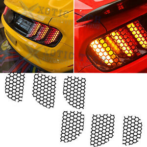 Black Rear Tail Light Lamp Honeycomb Stickers Decals For Ford Mustang 2015 2017