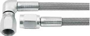 Brake Hose 22 3 An Straight To 3 An 90 Female Braided Stainless Ptfe Lined