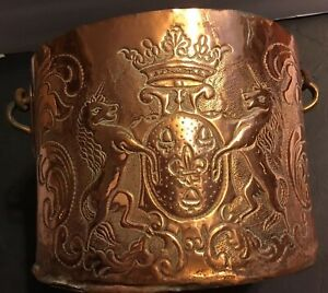 18th Century Solid Copper Hand Chased Coat Of Arms Copper Pot Cauldron France