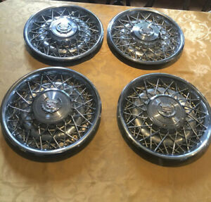 Set 1975 1984 Cadillac Seville Fleetwood 15 Wire Wheel Covers Rwd 1977 1978