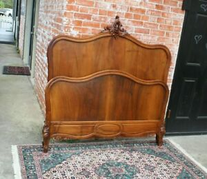 French Antique Carved Walnut Louis Xv Full Size Bed Bedroom Furniture
