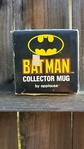 BATMAN Coffee Mug Cup by Applause~ TM & DC Comics~ Black w/ Yellow Image~Vintage