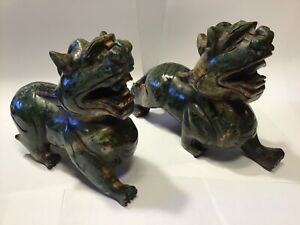 Stone Carved Chinese Fu Dogs For Protection