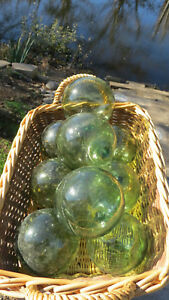 Japanese Blown Glass Floats Lot 9 All Green 3 3 5 Buoy Balls Fish Vintage