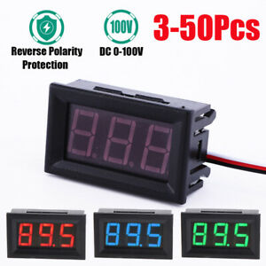 3 50pcs Mini Rgb Led Dc 100v Voltmeter Gauge Voltage Volt Panel Meter Display