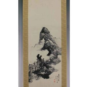 Japanese Painting Hanging Scroll Japan Landscape Ink Antique Old Original 953m