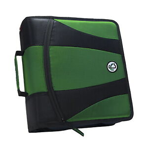 Case it Dual Ring Zipper Binder D ring 2 Inches Kelly Green
