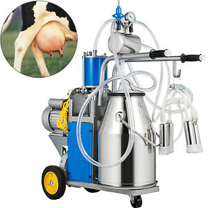 25l Electric Milking Machine For Farm Cows W bucket Double Handles 5 8 Cows hour