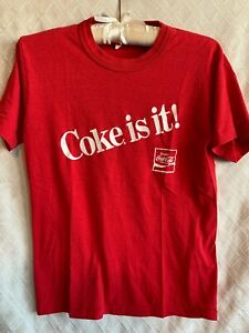 Vtg 80s Coca Cola T-Shirt XL Sun Washed Faded Single Stitch Coke Is It!