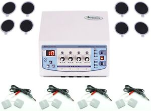 Professional Home Use 4 Channel Electrotherapy Machine Cont Pulse Massager Unit