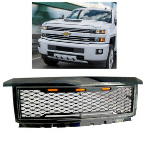 For 2016 2019 Chevy Silverado 2500hd 3500hd Glossy Black Front Bumper Grille New