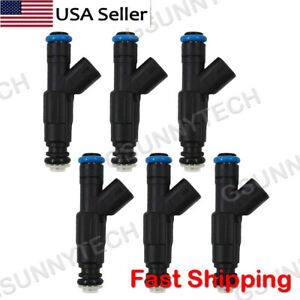 Set Of 6 4 Hole Upgrade Fuel Injectors For 99 04 4 0l Jeep Cherokee 0280155784